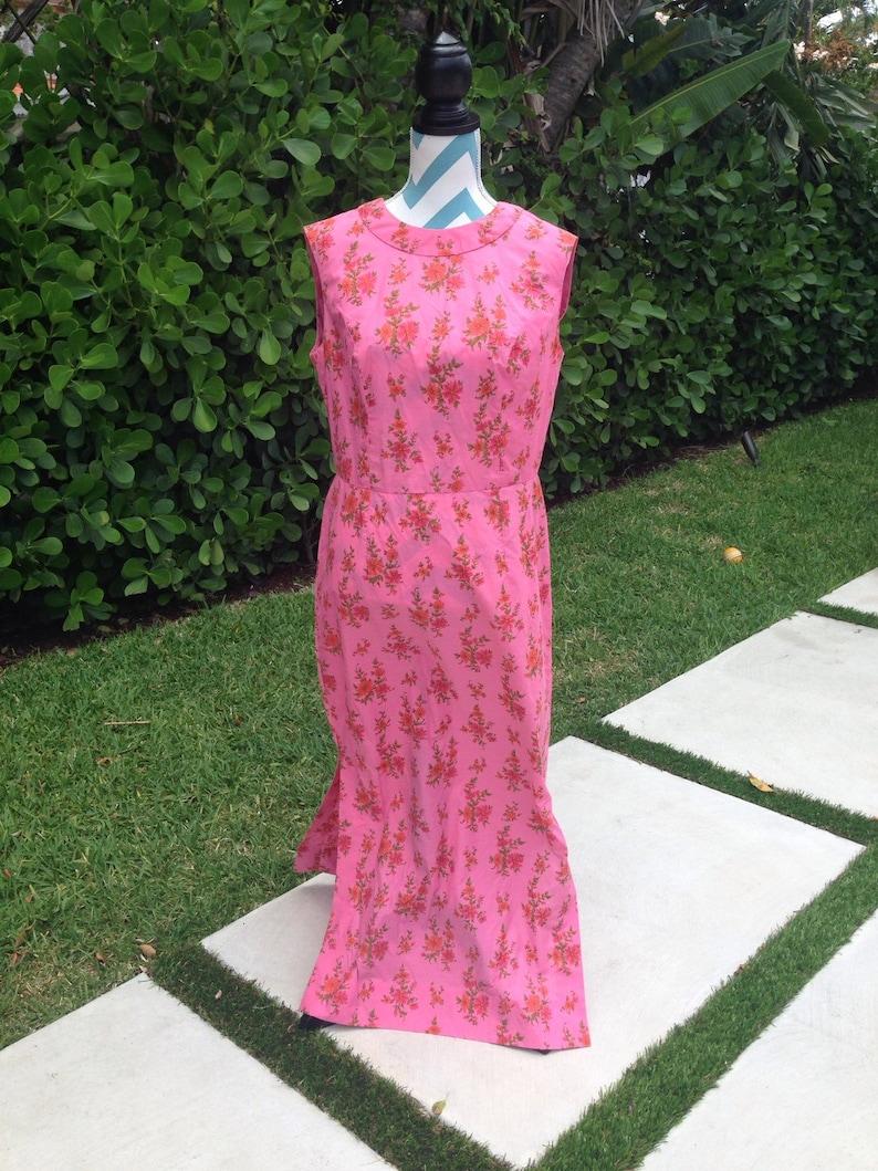 bad4bf50e92 Vintage 60er Jahre Floral Maxi Kleid große Flower Print