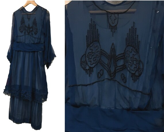 Rare 1920s Dress Antique Silk Chiffon Beaded Eveni