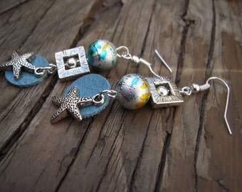 Starfish earrings blue