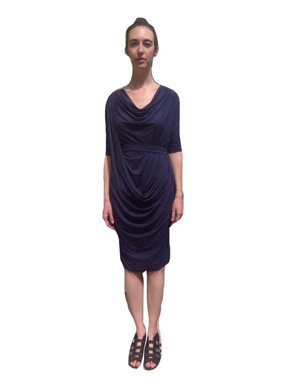 Drape Neck Evening Dress
