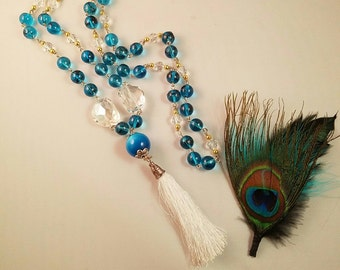 White Tassel Necklace with clear and turquoise glass beads
