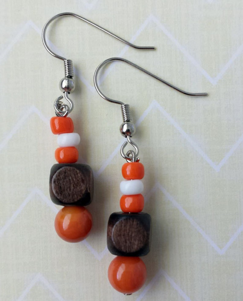 Wood cube earrings with orange and white beads image 0