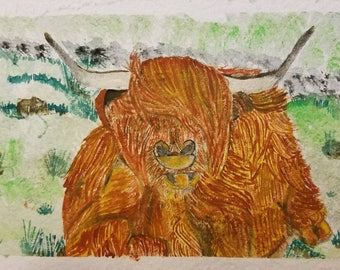 Highland Cow Watercolor Painting - Wildlife Watercolor