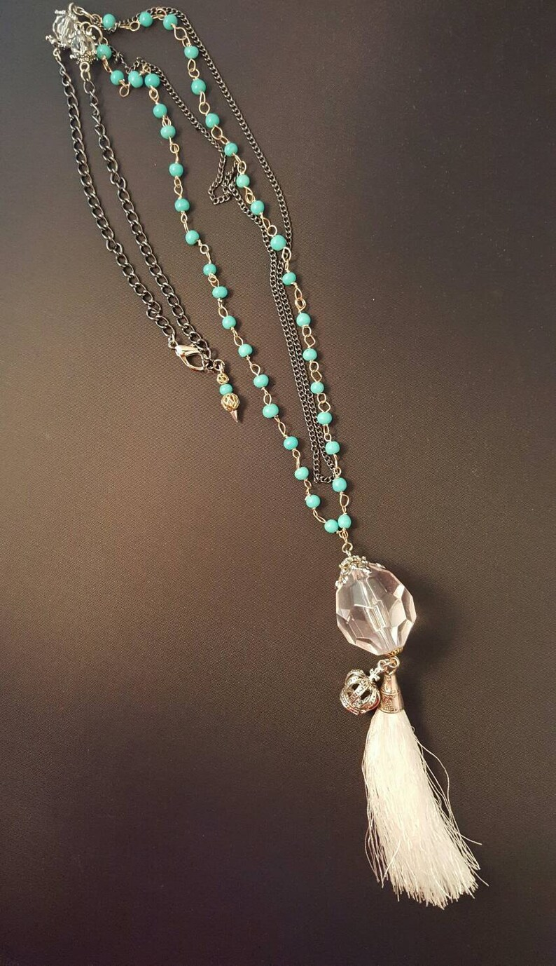 Multi Strand Beaded Tassel  Necklace with a Crown Charm image 0