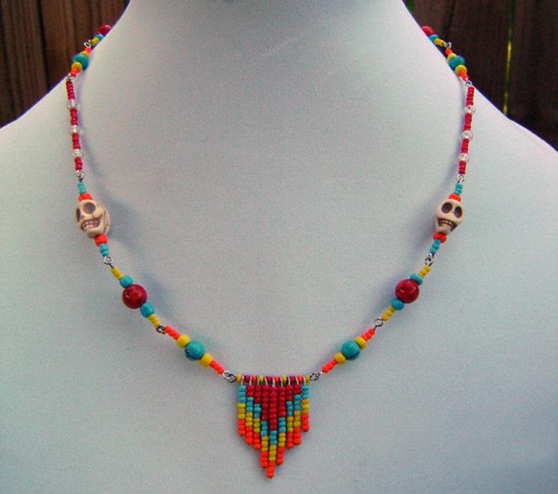 Beaded Fringe Chevron Necklace image 0