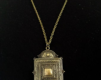 Ornate square charm necklace with beaded detail