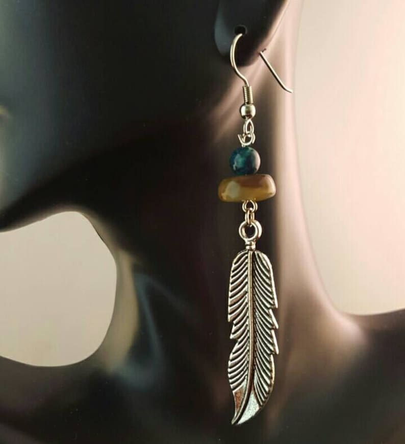 Feather dangle earrings with jade beads image 0