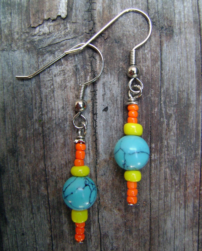 Colorful Turquoise Earrings image 0
