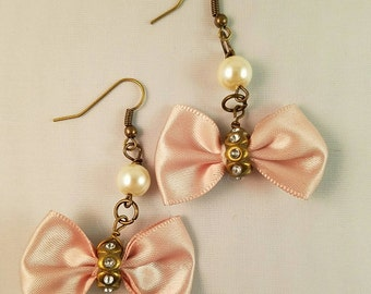 Pink Bows and Pearl Dangle Earrings
