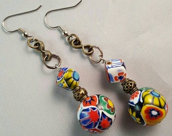 Colorful Geometric Porcelain Bead Earrings with Brass Colored Accents