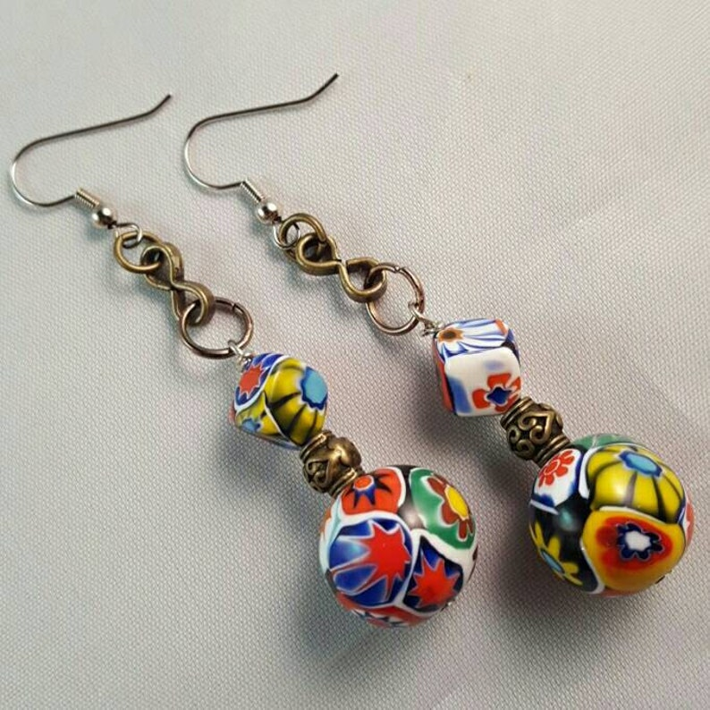 Colorful Geometric Porcelain Bead Earrings with Brass Colored image 0