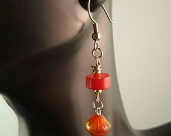 Red coral dangle earrings with diamond shaped beads