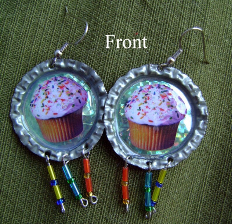 Cupcake Bottle Cap Earrings image 0
