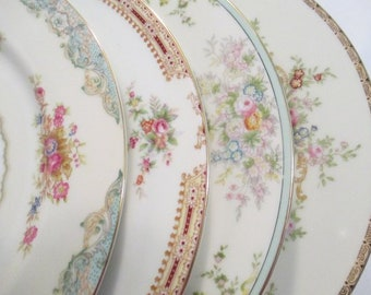 Vintage Mismatched China Dinner Plates, Bridal Luncheon,Wedding, Shabby, Bridal Gift, Farmhouse, Rustic, Chic, Cottage Chic - Set of 4