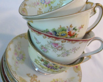 Vintage Mismatched Shabby China Cups & Saucers for Tea Party, Bridal Luncheon, Baby Shower, Birthday, Gift, Holidays, Gift - Set of 4