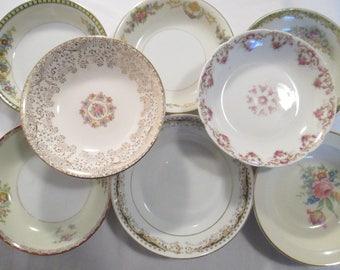 Vintage Mismatched China Dessert Bowls, Berry Bowls, Fruit Bowls w/Imperfections - Set of 8