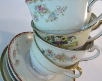 Vintage Mismatched China Cups and Saucers, Farmhouse, Shabby, Bridal Shower, Wedding, Tea Party, Bridal Luncheons, Hostess Gift - Set of 4