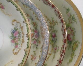 Vintage Mismatched China Dessert Bowls, Fruit Bowls, Berry Bowls, Tea Party, Shabby, Farmhouse, Wedding, Bridal Luncheon, Shabby-Set of 4