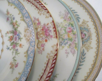 Vintage Mismatched China Dessert Plates, Bread Plates for Farmhouse, Shabby, Rustic,Tea Party, Tea Plates, Wedding. Bridal Luncheon-Set of 4