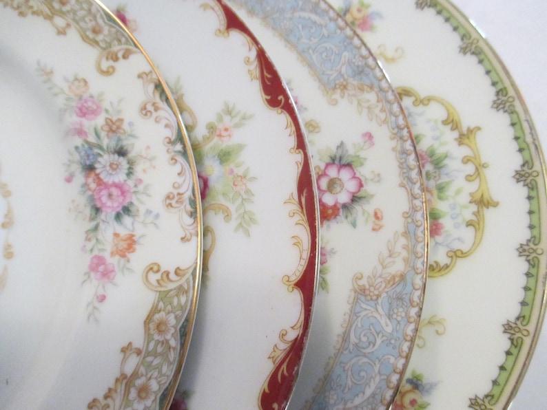 Vintage Shabby Mismatched China Salad Plates Cottage image 0