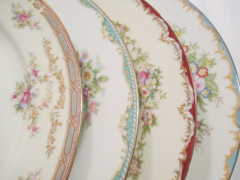 Vintage Mismatched China Dinner Plates Bridal image 0