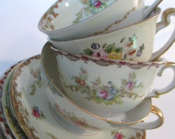 Vintage Mismatched Shabby China Cups & Saucers for Tea Party, Bridal Luncheon, Showers, Hostess Gift, Bridesmaid Gift - Set of 4