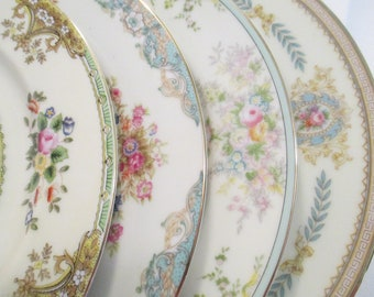Vintage Mismatched China Dinner Plates for Farmhouse, Rustic, Cottage Chic, Shabby,Wedding,Bridal Luncheon, Chic -Set of 4