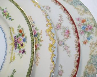 Vintage Mismatched China Dinner Plates, Holidays, Birthday, Wedding, Shabby, Farmhouse, Cottage Chic, Family Dinner, Gift - Set of 4