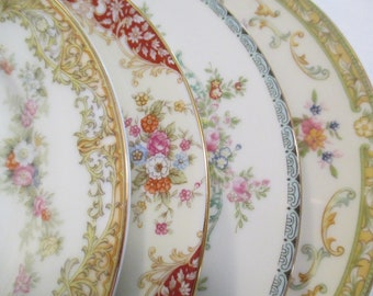 Vintage Shabby Mismatched China Salad Plates, Wedding, Birthday, Baby Shower, Tea Party, Bridal Luncheon, Family Dinner, Gift- Set of 4