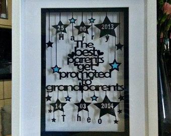The best parents get promoted to grandparents paper cut framed