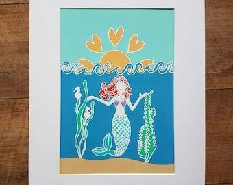 Mermaid giclee print a4 mounted