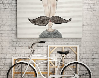 PRINT | MOUSTACHE LOVE / Striped: Illustration Print.