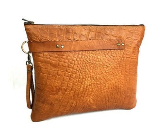 Classic,Oversized, Brandy Color, Women&Men Leather Clutch. Tallit Elegant Leather Case. With A Detachable Leather Handle. A Gift For Her/Him