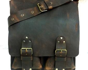 5c6bc444c900 Classic Handcrafted Distressed Brown Messenger Bag. Large Men  Women Leather  Bag. Crossbody. Big Pockets Leather Bag. Unisex.