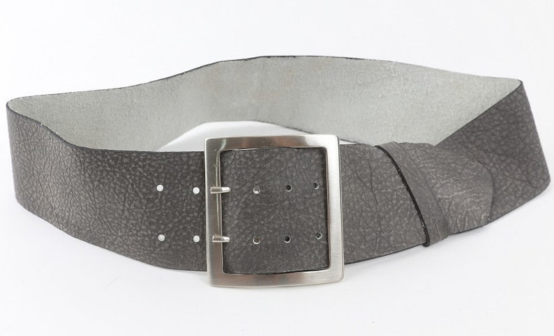 Casually elegant women/'s leather belt wide gray leather belt a gift for her. soft leather Large square silver tone or bronze buckle