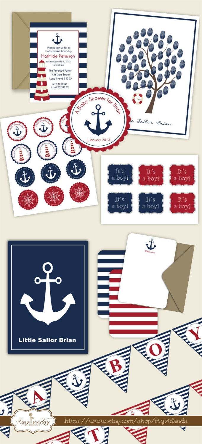 This is an image of Ambitious Nautical Baby Shower Printables