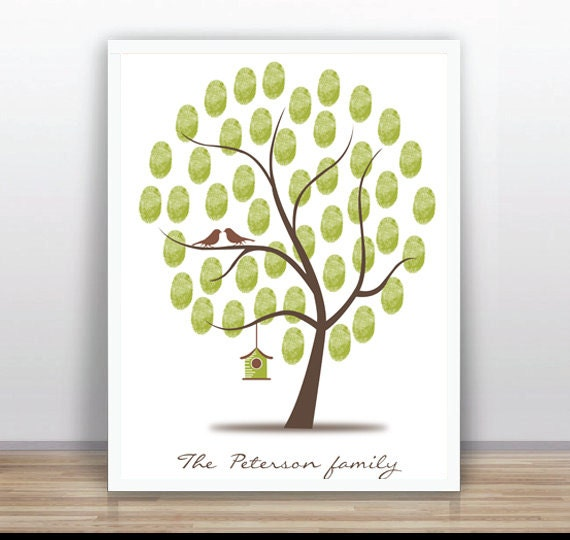Birthday Thumbprint Tree Printable Pdf Printable Fingerprint Etsy