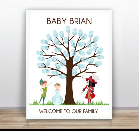 Peter Pan Thumbprint Tree Printable Wedding Baby Shower Etsy