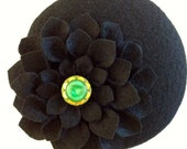 Black Wool Felt Button Fa...