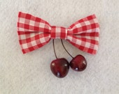 Red and White Gingham Bow...