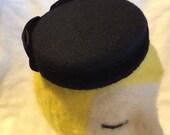 Black Wool Felt Pillbox F...