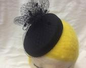 Black Wool Felt Oval Fasc...