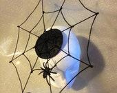 Black Satin Spiderweb Fas...