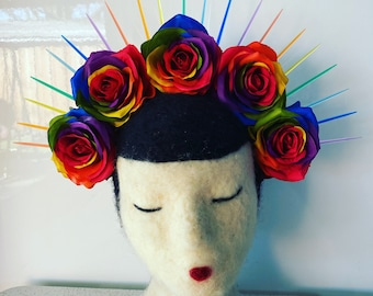 Rainbow Spike Crown with Rainbow Roses