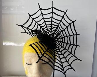 Felt Spider Web and Glitter Spiders Fascinator
