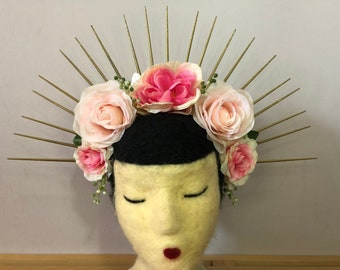 Pink and Gold Spike Flower Crown