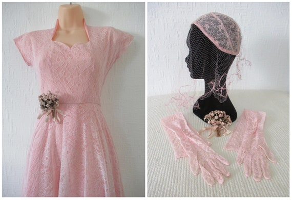 1940s Dress 1950s Pink Lace Tea / Wedding Dress wi