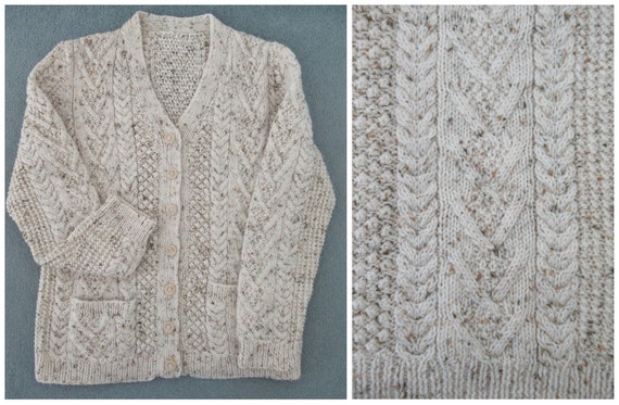 Vintage Hand Knit Wool Cardigan - Aran Cable Knit… - image 9