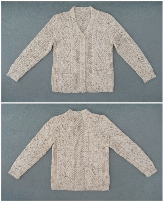 Vintage Hand Knit Wool Cardigan - Aran Cable Knit… - image 6