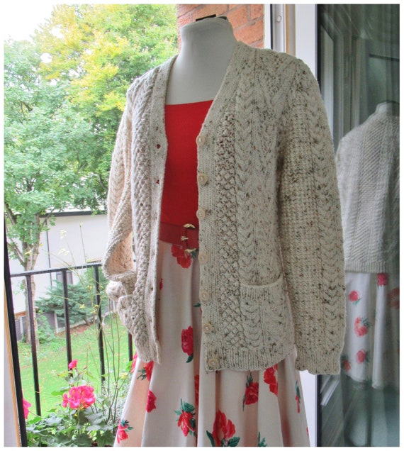 Vintage Hand Knit Wool Cardigan - Aran Cable Knit… - image 3